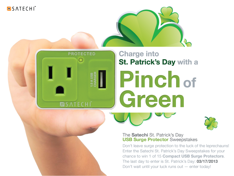 Satechi St. Patrick's Day USB Surge Protector Sweepstakes
