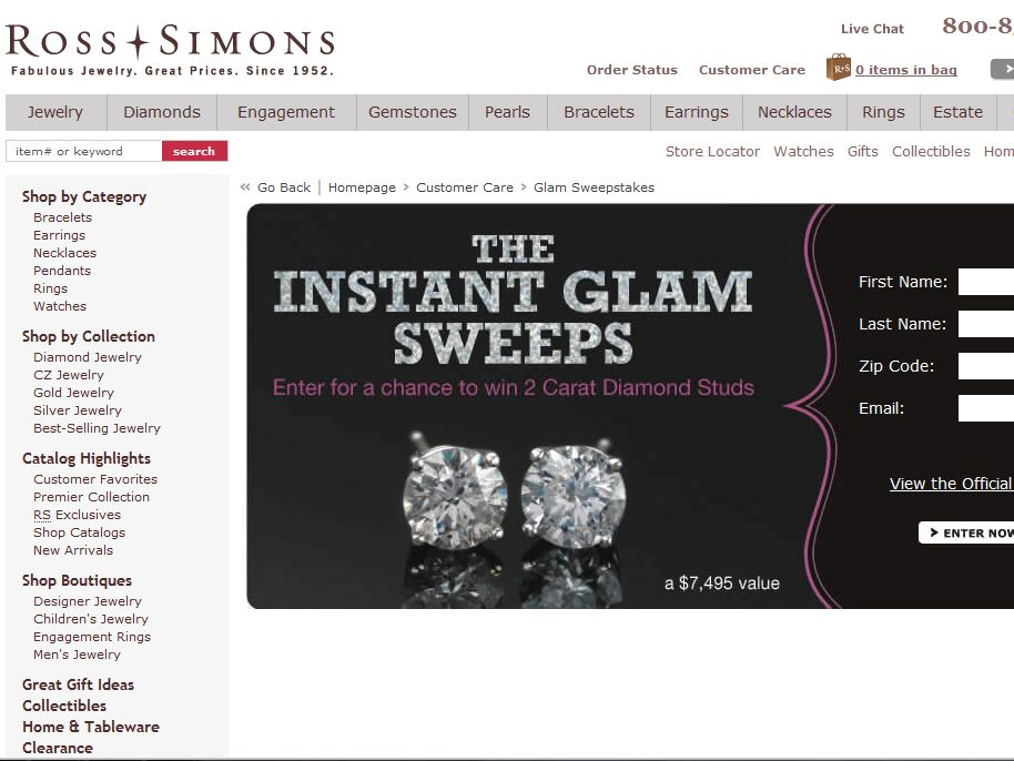 Ross-Simons Instant Glam Sweepstakes
