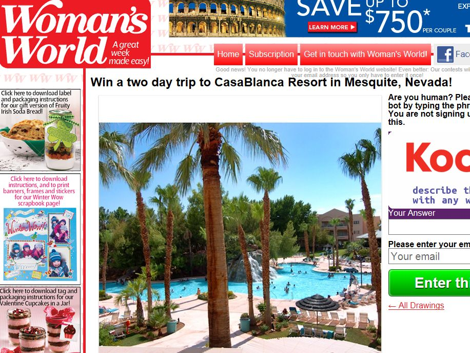Win a two day trip to CasaBlanca Resort in Mesquite, Nevada Sweepstakes