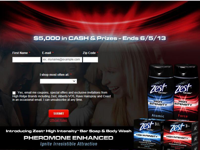 Zest High Intensity $5,000 Vegas Weekend Online Sweepstakes