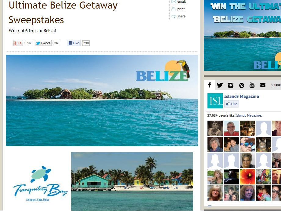 Ultimate Belize Giveaway Sweepstakes