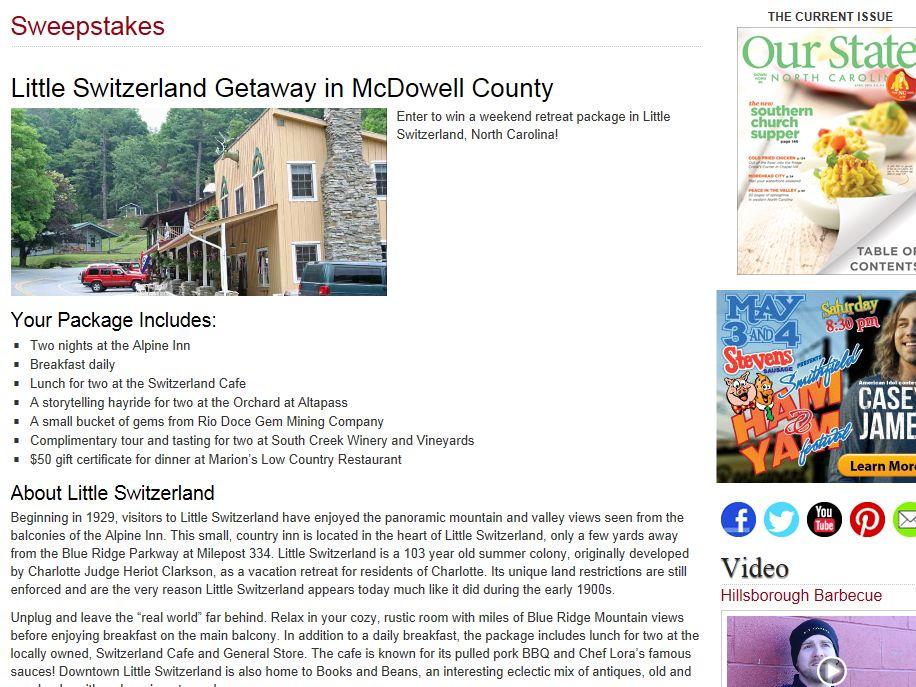 Little Switzerland Getaway in McDowell County Sweepstakes