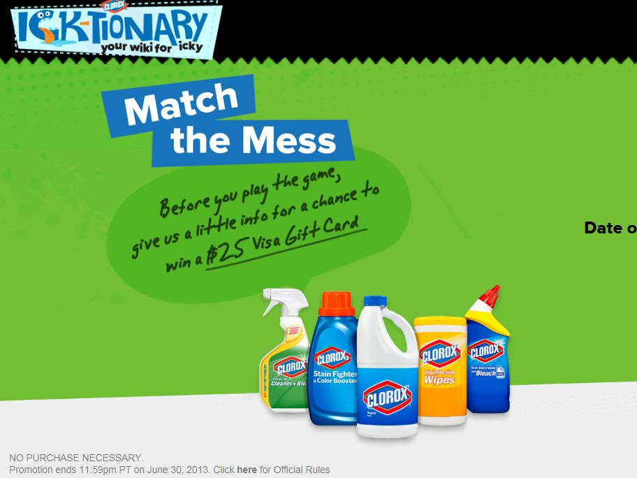 Clorox Ick-tionary Instant Win Game