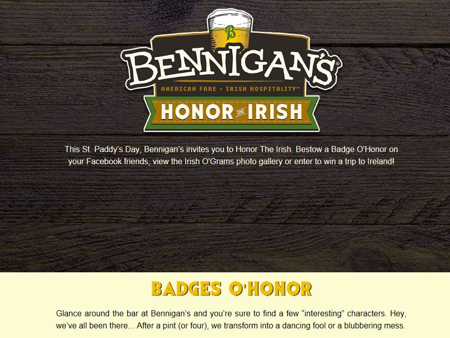 St. Paddy's Day, Bennigan's invites you to Honor The Irish Sweepstakes