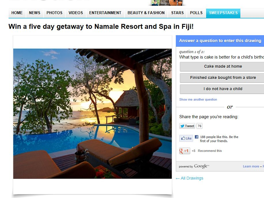 Win a five day getaway to Namale Resort and Spa in Fiji Sweepstakes