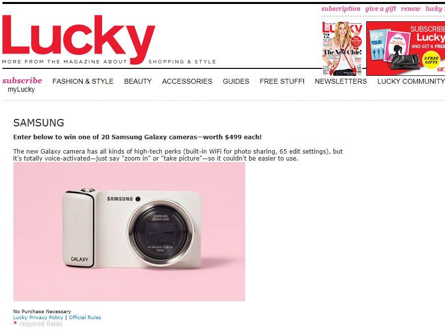 Lucky Magazine Samsung Sweepstakes