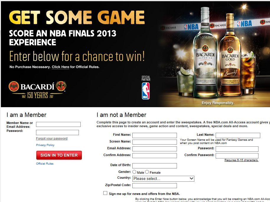 BACARDI Get Some Game Sweepstakes