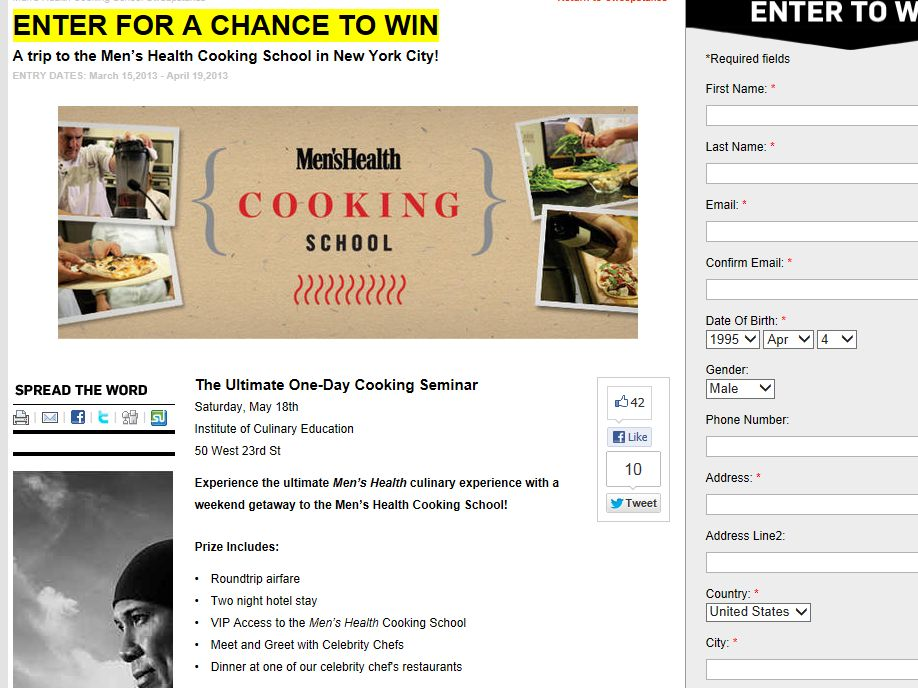 Ultimate One-Day Cooking Seminar Sweepstakes
