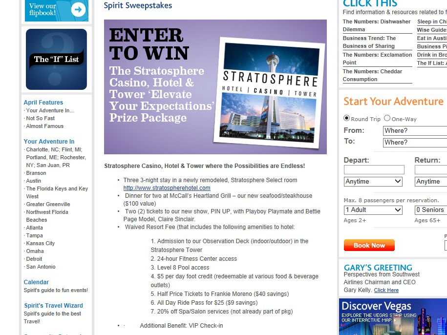 Southwest Airlines Spirit Stratosphere Sweepstakes
