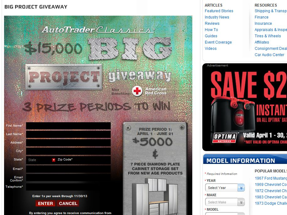 AutoTrader Classics Big Project Giveaway Sweepstakes