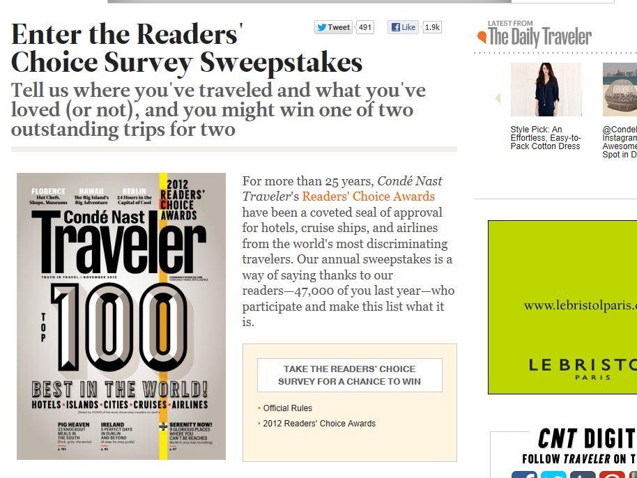 Condé Nast Traveler Readers' Choice Sweepstakes