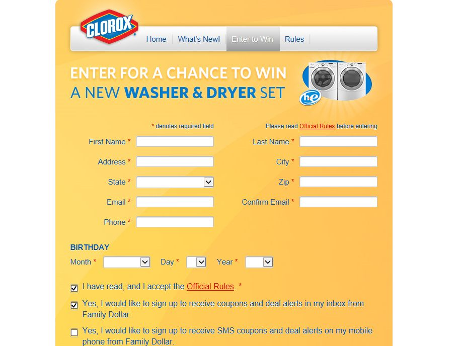 Family Dollar Wash and Win with Clorox Sweepstakes