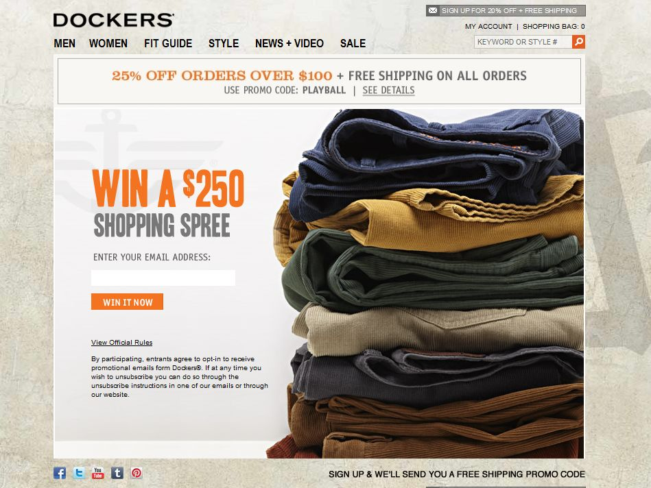 Dockers $250 Online Shopping Spree Sweepstakes