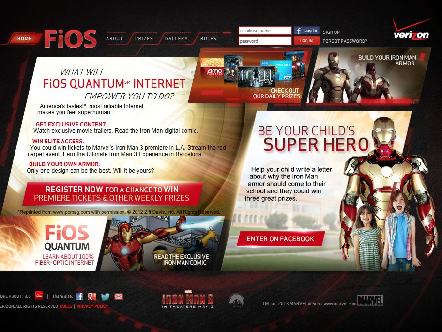 Verizon FiOS Iron Man 3 Sweepstakes