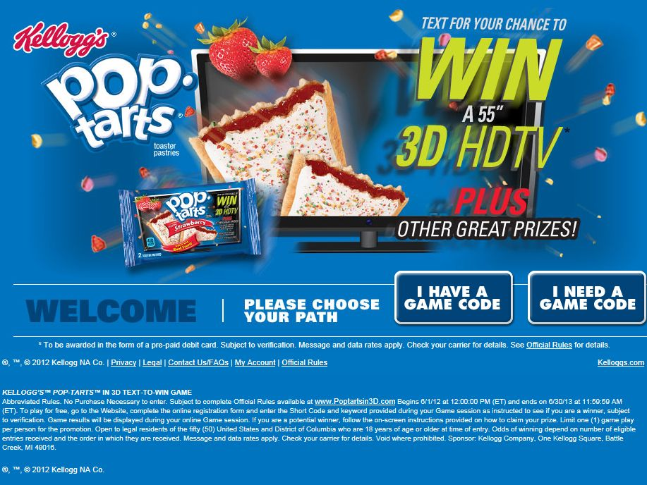 Kellogg's Pop-Tarts in 3D Text-to-Win Game