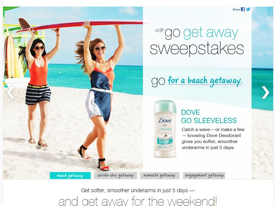 Dove Go Sleeveless Sweepstakes