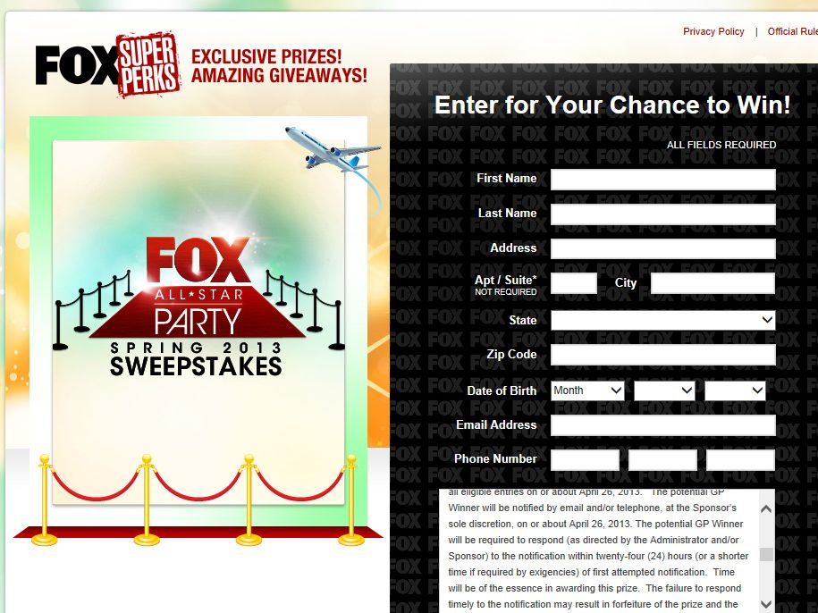 FOX All-Star Party Spring 2013 Sweepstakes
