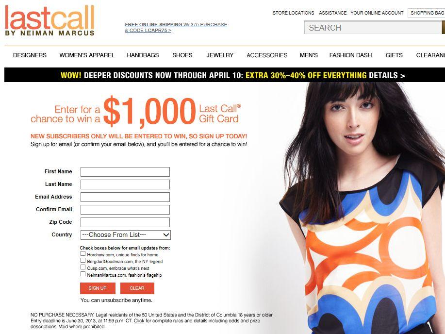 $1,000 Neiman Marcus Last Call Gift Card