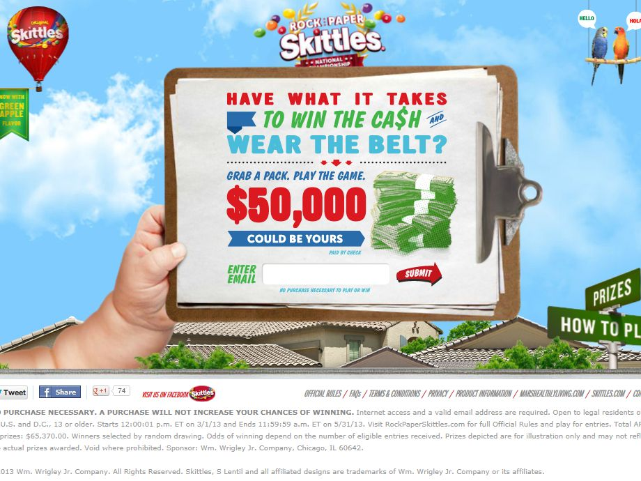 Rock, Paper, Skittles Sweepstakes