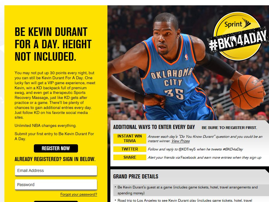 Sprint Kevin Durant For A Day Sweepstakes
