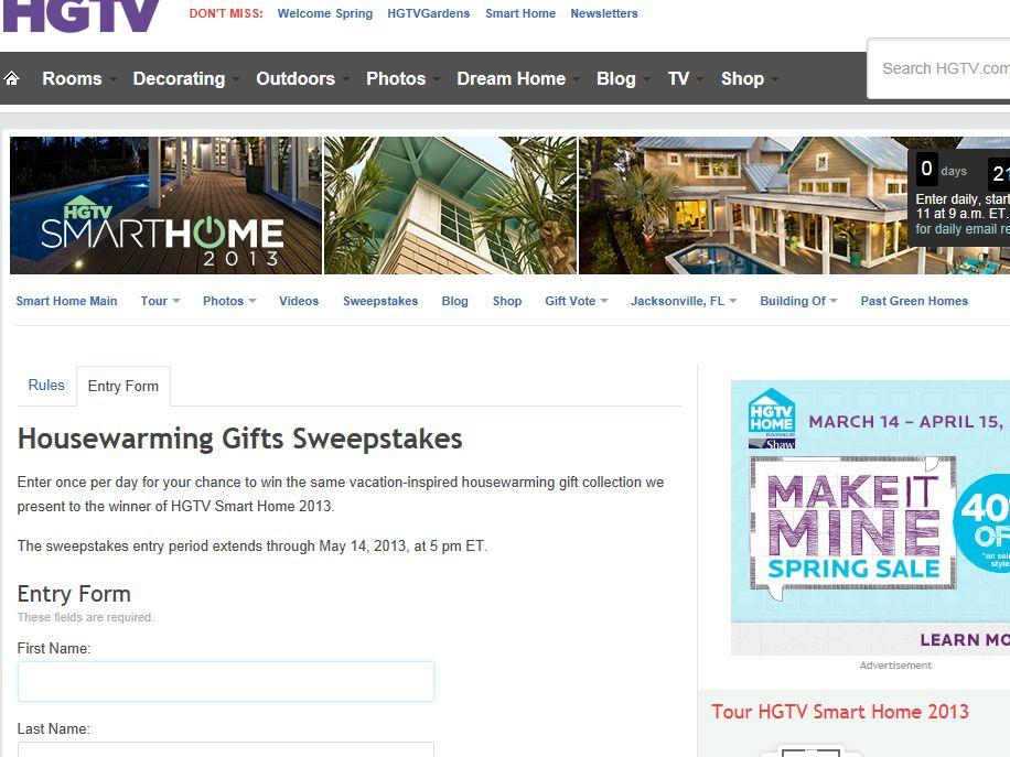HGTV's Smart Home Housewarming Giveaway