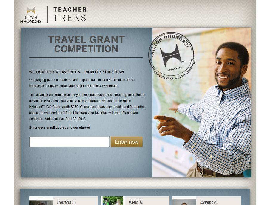 Hilton HHonors Teacher Treks Travel Grant Competition