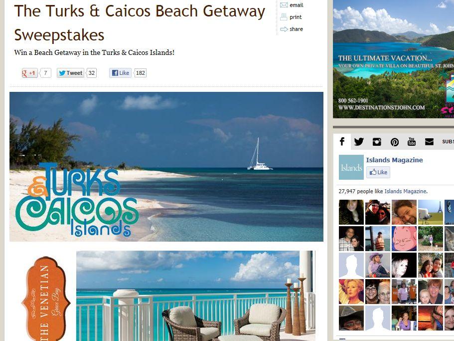 Turks & Caicos Beach Getaway Sweepstakes