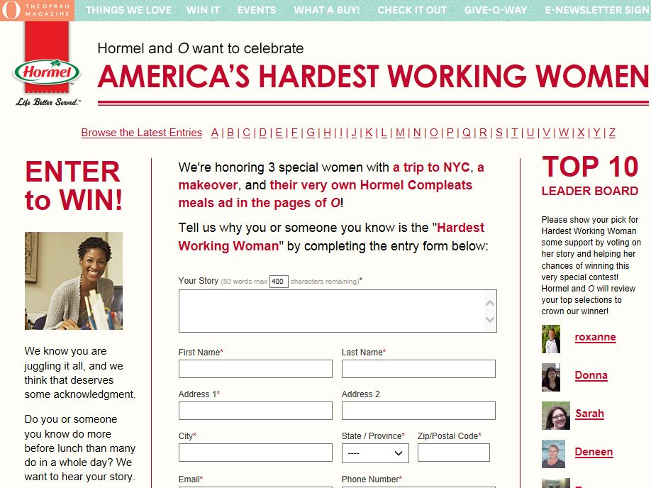 America's Hardest Working Women Contest
