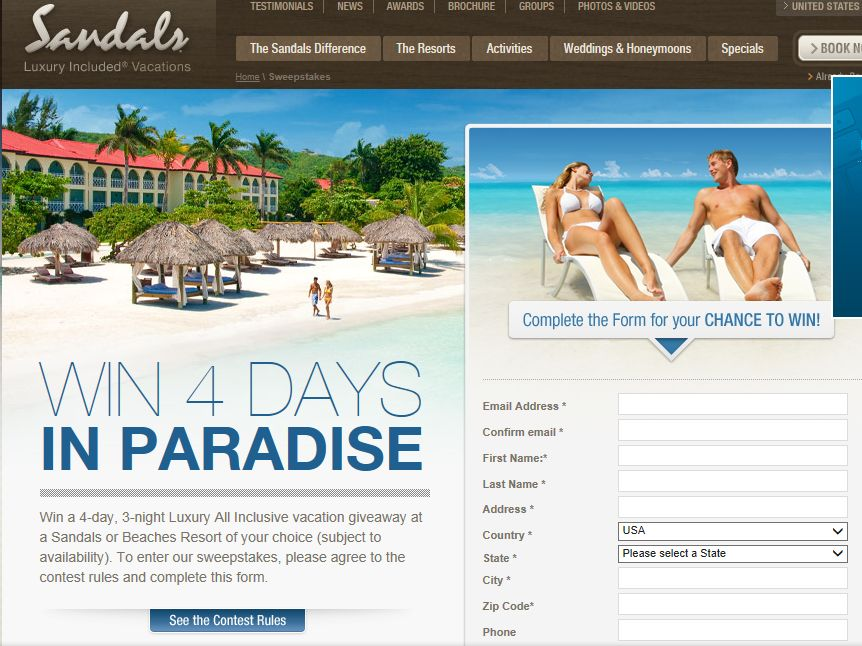 Sandals and Beaches Giveaway Q2, 2013 Sweepstakes