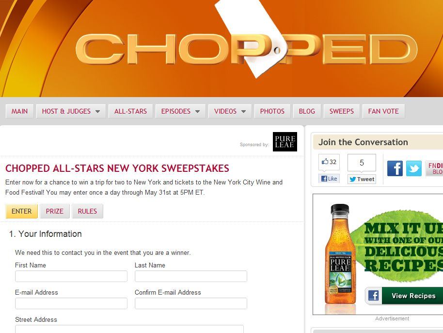 Chopped All-Stars New York Sweepstakes
