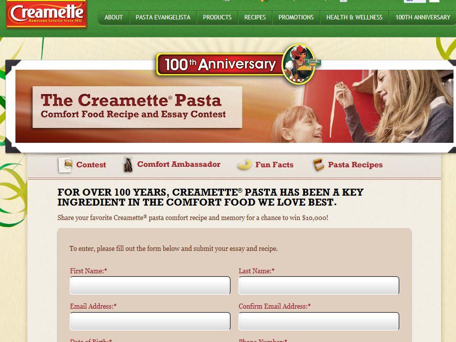 Creamette Pasta Comfort Food Recipe and Essay Contest