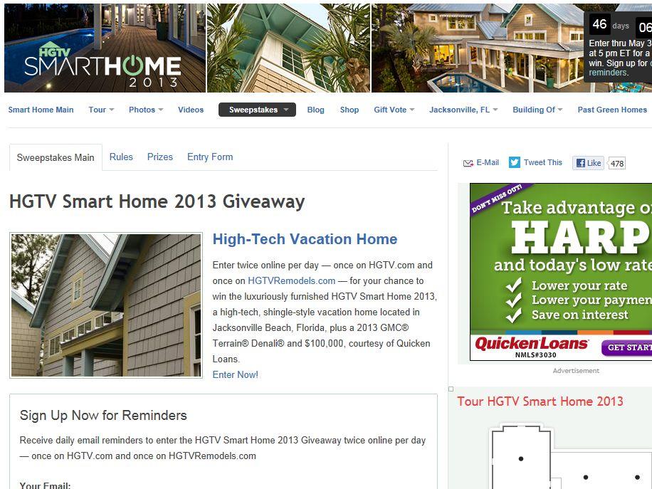 2013 HGTV Smart Home Giveaway