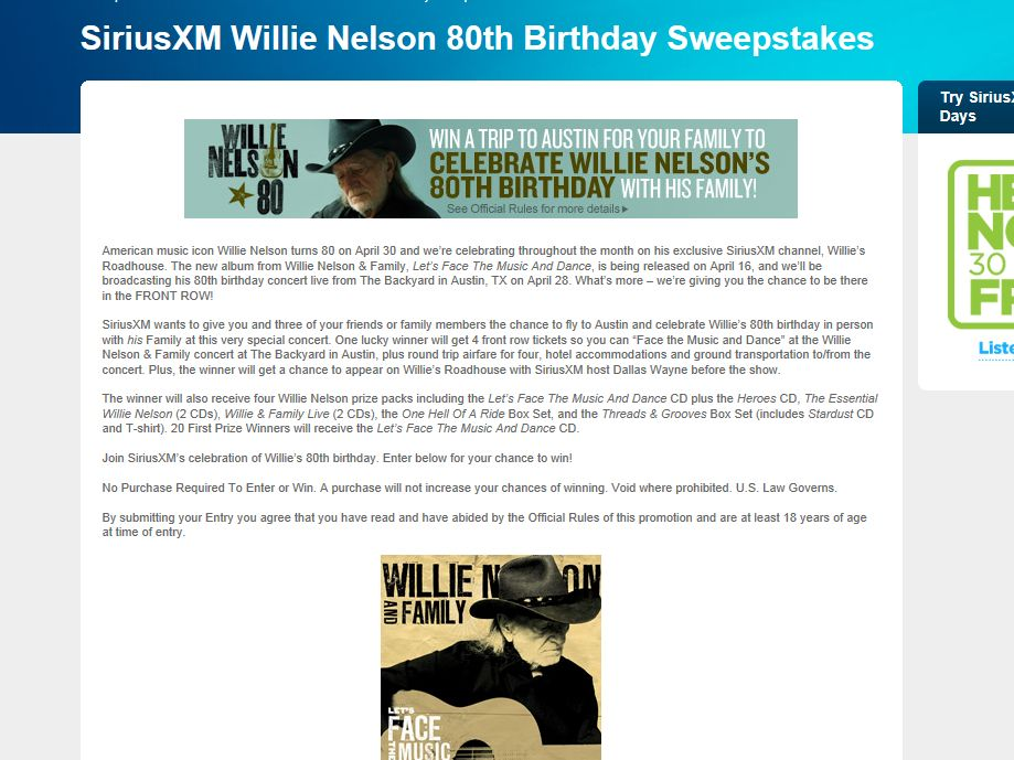 SiriusXM Willie Nelson 80th Birthday Sweepstakes