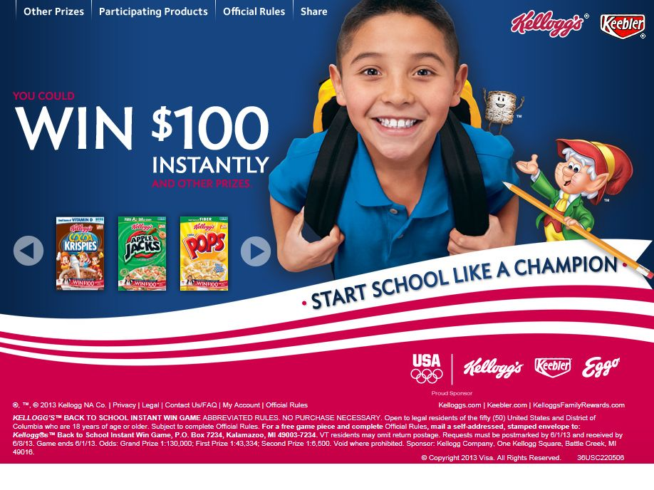 Kellogg's Back to School Instant Win Game