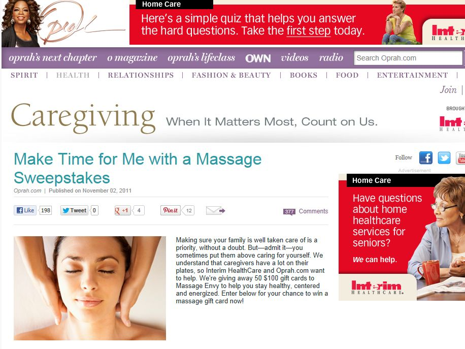Make Time for Me with a Massage Sweepstakes