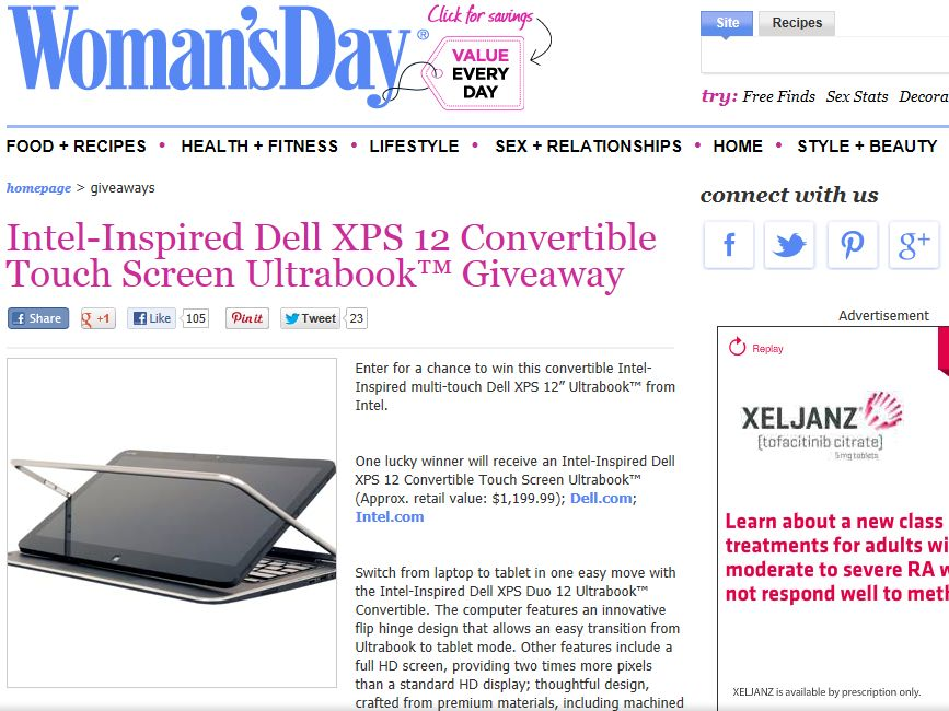 Dell XPS 12 Convertible Touch Screen Ultrabook Sweepstakes