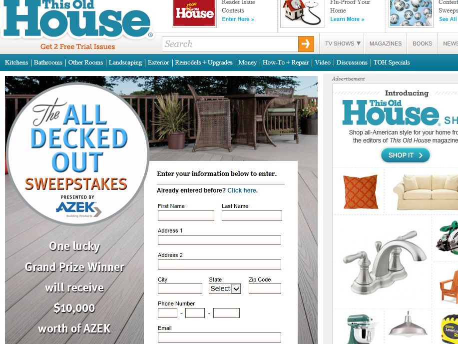 This Old House All Decked Out Sweepstakes