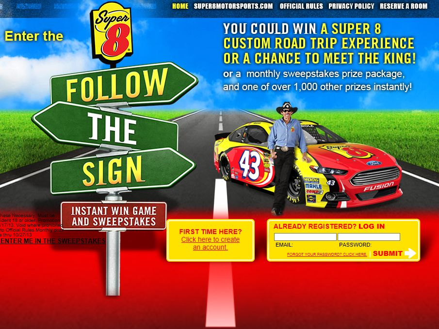 Super 8 Follow The Sign Instant-Win Game & Sweepstakes