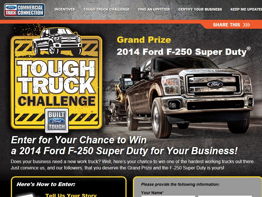 2013 Tough Truck Challenge Sweepstakes - Business Owners Only
