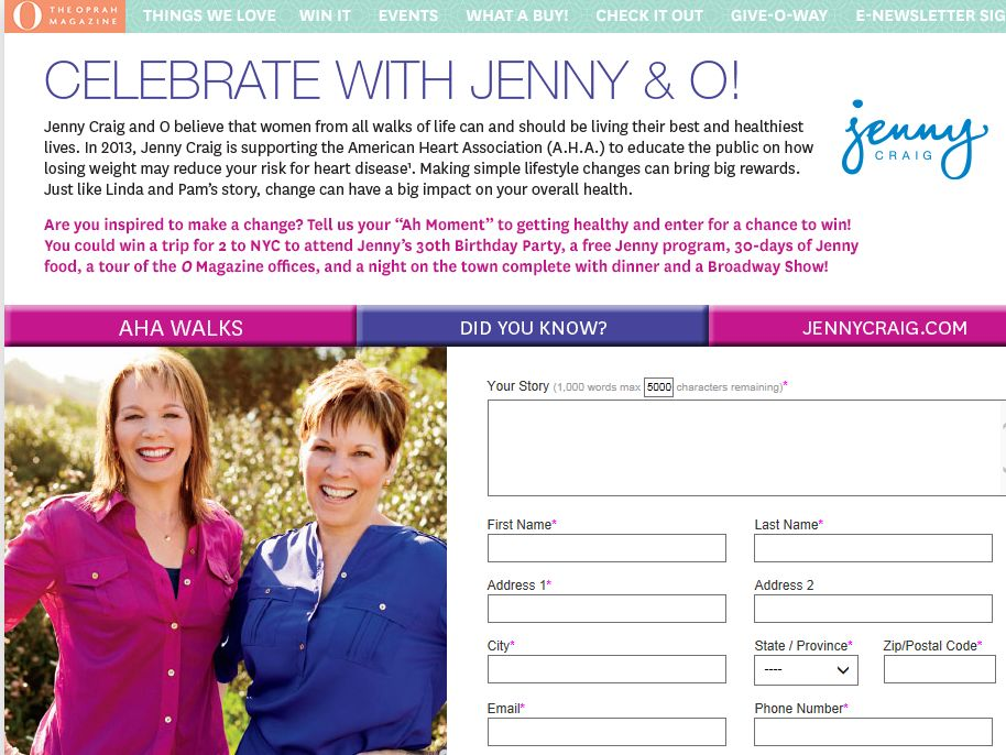 Jenny Craig Like Mother, Like Daughter Contest