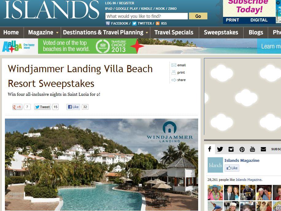 Windjammer Landing Villa Beach Resort Sweepstakes