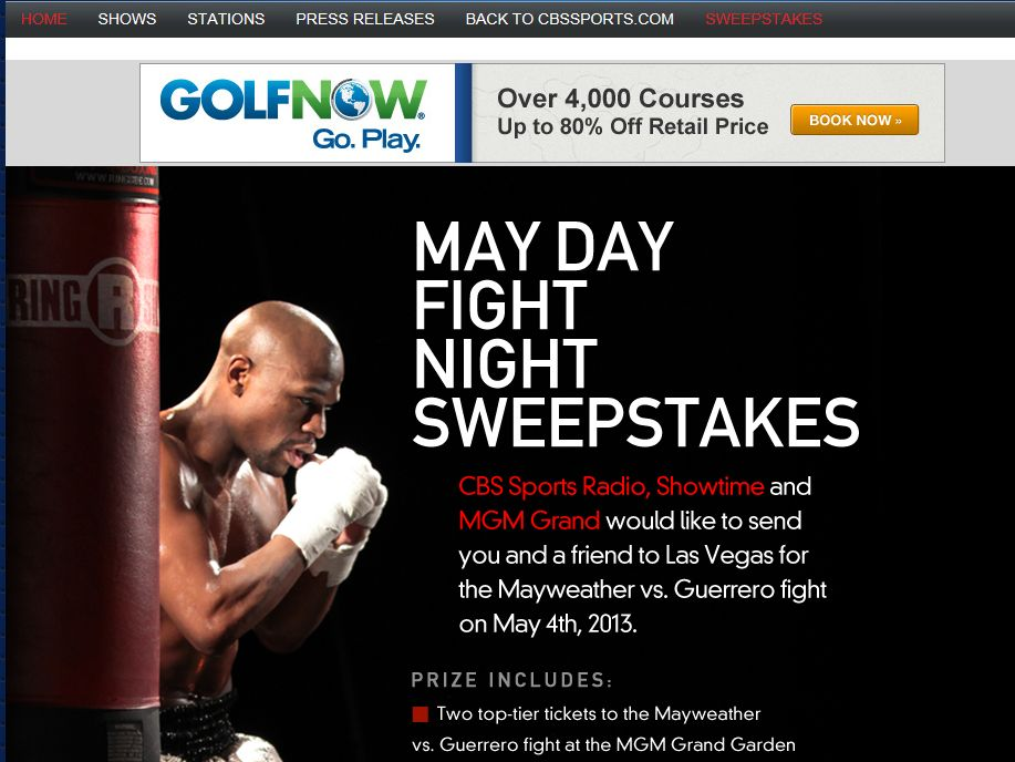 CBS Sports Radio May Day Fight Night Sweepstakes