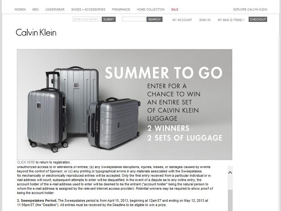 Calvin Klein Summer to Go Sweepstakes