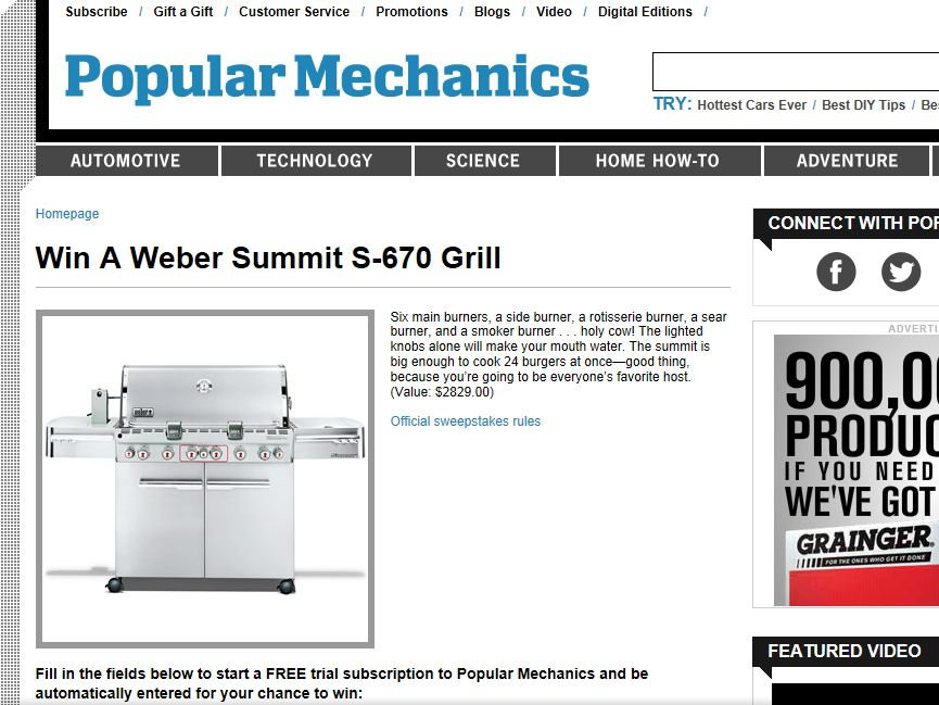 Popular Mechanics Sweepstakes >> Popular Mechanics Weber Summit S 670 Grill Sweepstakes