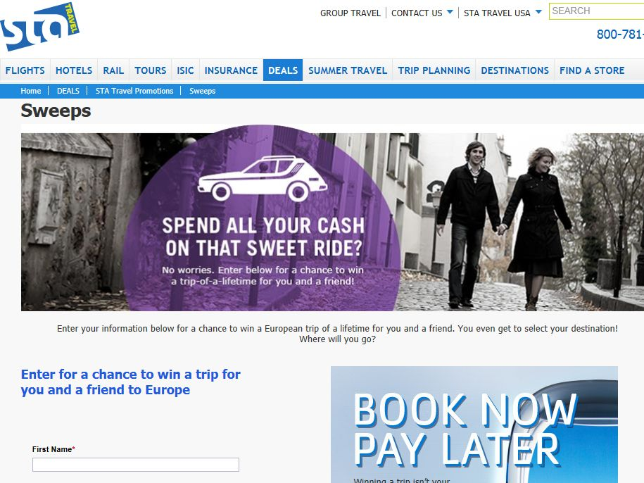 STA Travel's Europe Never Goes out of Style Sweepstakes