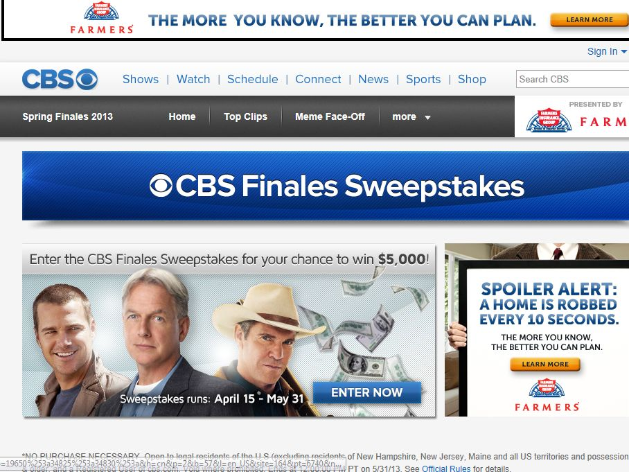 CBS Finales Sweepstakes