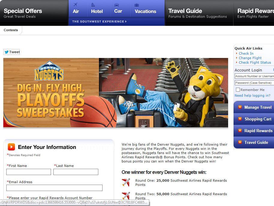 Southwest Airlines DIG IN. FLY HIGH. Playoffs Sweepstakes