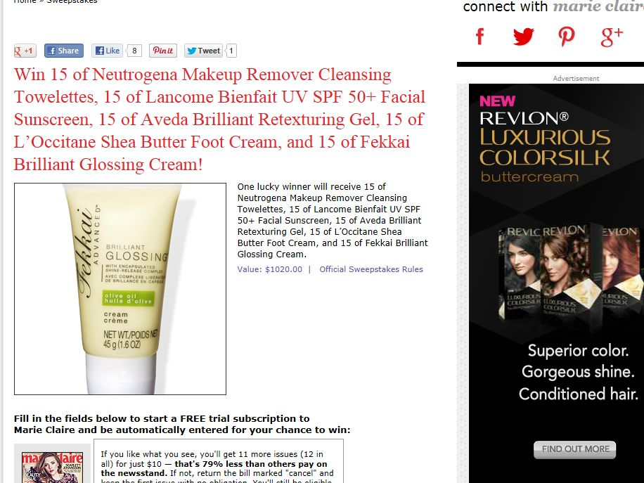 Marie Claire May 2013 Sweepstakes