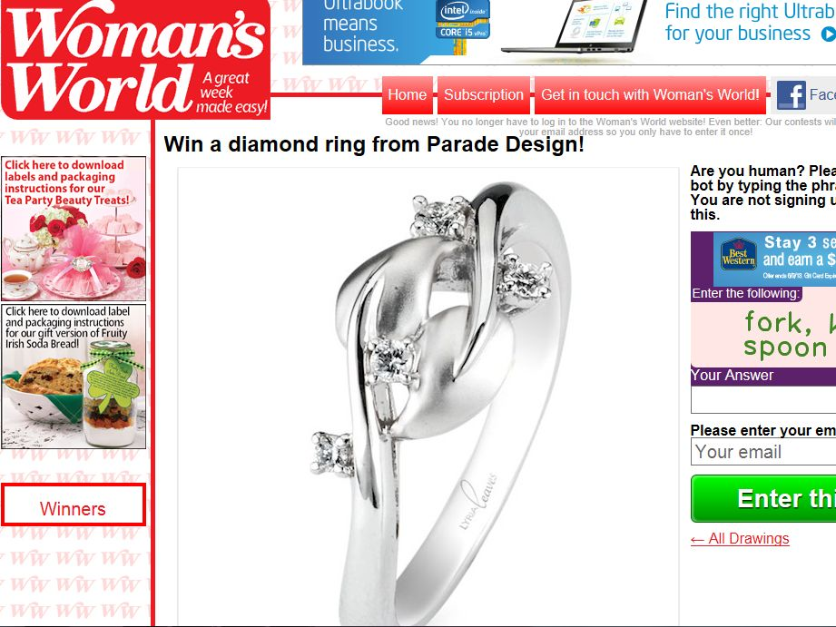 Win a diamond ring from Parade Design Sweepstakes