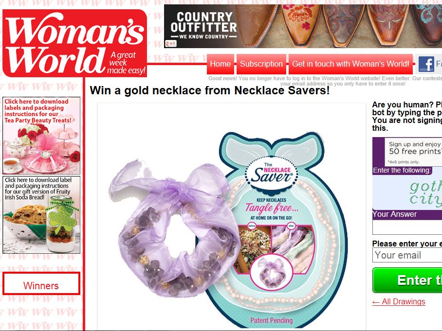 Win a gold necklace from Necklace Savers Sweepstakes